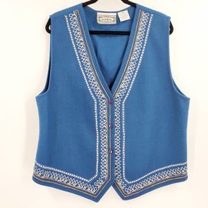 BonJour Wool Blue Turkish Vest Embroidered Button